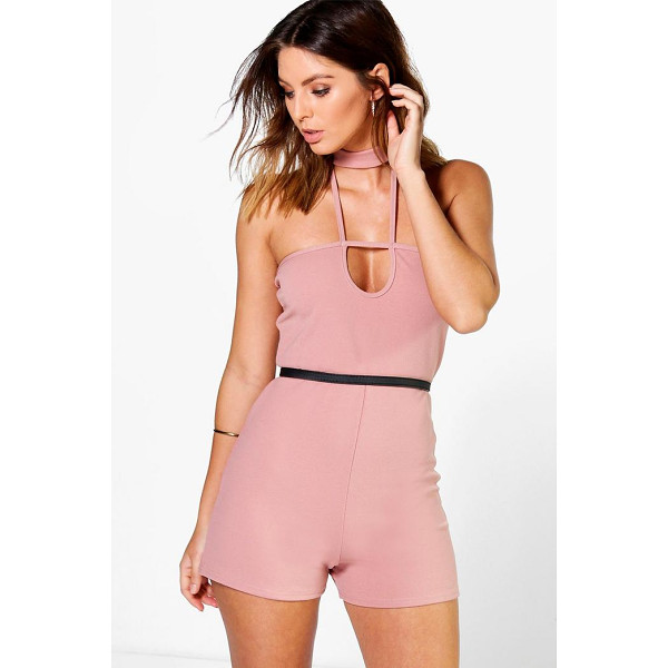 BOOHOO Lyndsay Choker Detail Playsuit - Perfect for day or play, a playsuit will solve your...