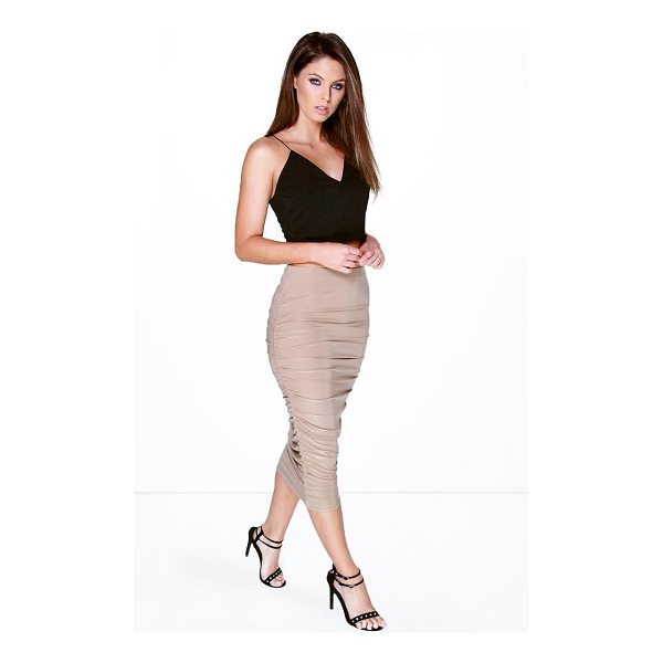 BOOHOO Maddie Rouched Side Slinky Midi Skirt - Skirts are the statement separate in every wardrobe This...