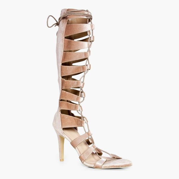 BOOHOO Maddison Knee High Lace Up Gladiator Heel - We'll make sure your shoes keep you one stylish step ahead...