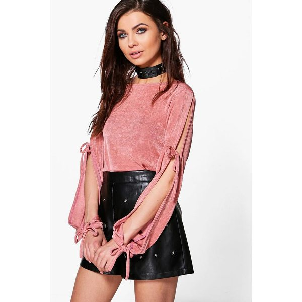 BOOHOO Maddison Premium Fabric Tie Sleeve Top - Steal the style top spot in a statement separate from the...