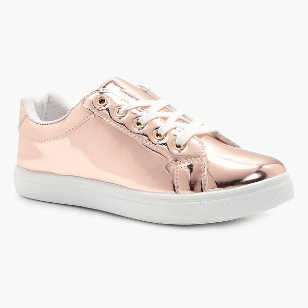 BOOHOO Maddison Rose Gold Mirror Trainer - We'll make sure your shoes keep you one stylish step ahead...