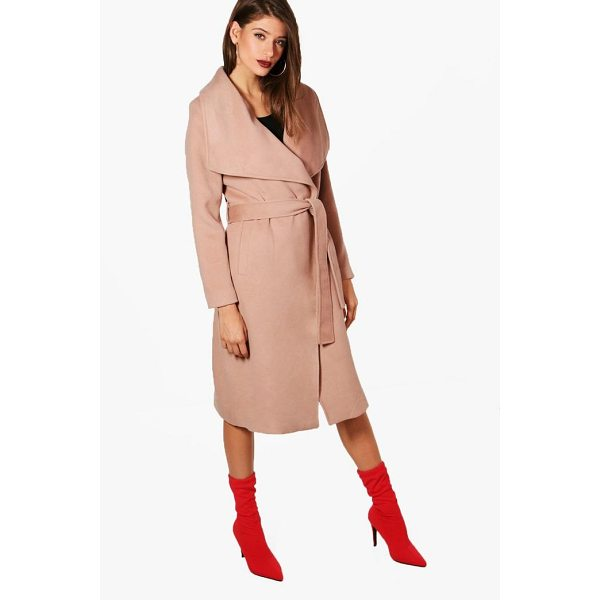 BOOHOO Madeleine Maxi Belted Waterfall Coat - Wrap up in the latest coats and jackets and get out-there...