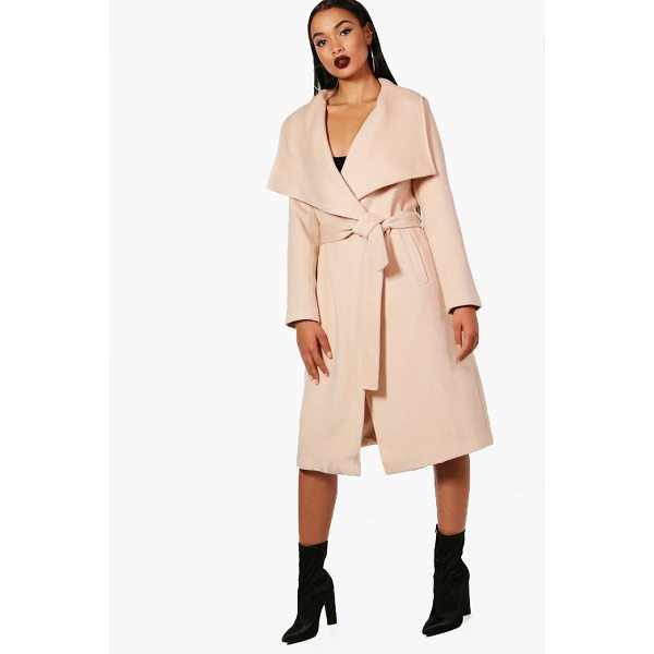 BOOHOO Madeleine Belted Waterfall Coat - Wrap up in the latest coats and jackets and get out-there...