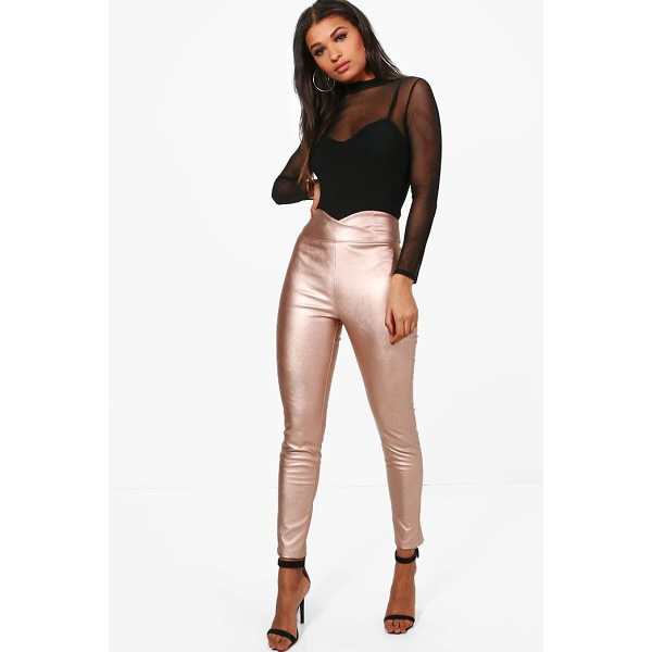 BOOHOO Madison Leather Look High Waist Skinny Trousers - Trousers are a more sophisticated alternative to...