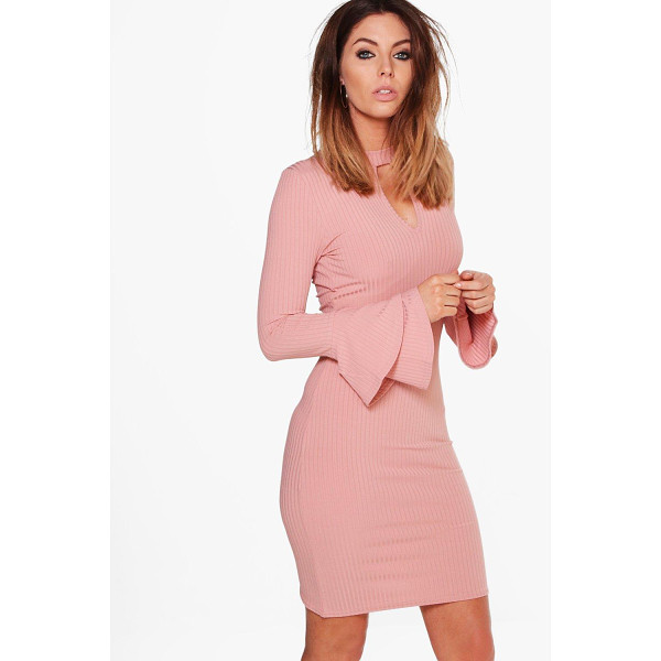 BOOHOO Madison Rib Keyhole Flute Sleeve Bodycon Dress - Dresses are the most-wanted wardrobe item for day-to-night...