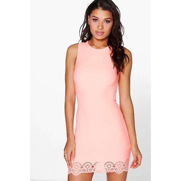 BOOHOO Maia Lazer Cut Hem Detail Bodycon Dress - Get dance floor-ready in an entrance-making evening...