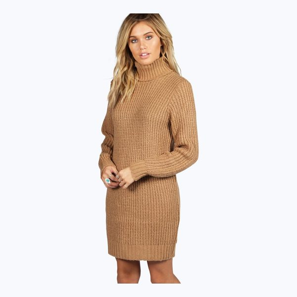 BOOHOO Maisie Roll Neck Soft Knit Jumper Dress - Nail new season knitwear in the jumpers and cardigans that...