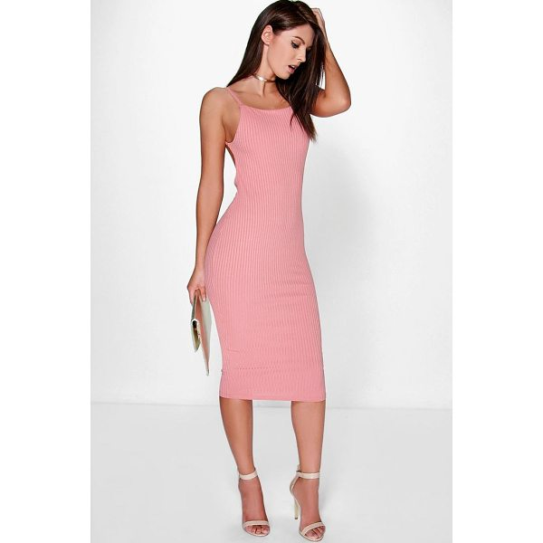 BOOHOO Margarita Ribbed Open Back Midi Bodycon Dress - Dresses are the most-wanted wardrobe item for day-to-night...