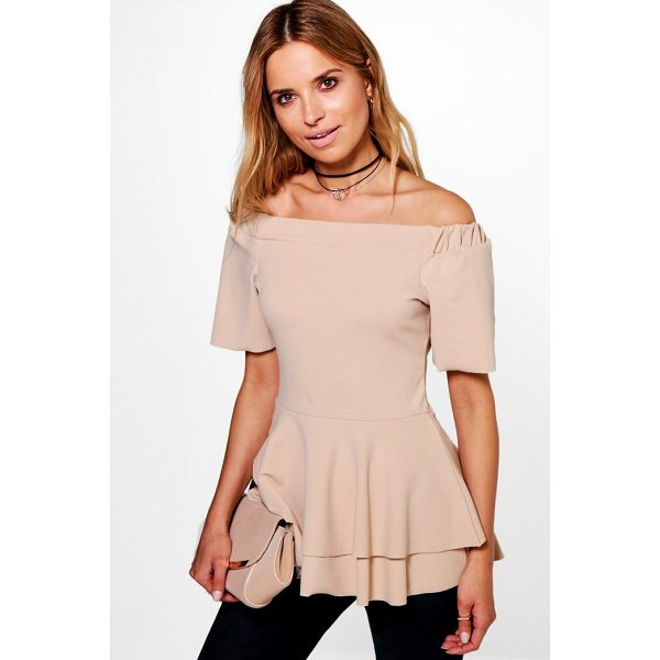 BOOHOO Maria Bardot Double Layer Peplum Top - Steal the style top spot in a statement separate from the...