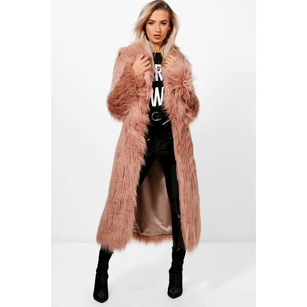 BOOHOO Maria Boutique Mongolian Maxi Faux Fur Coat - Warm up in style and instantly elevate your look with a...