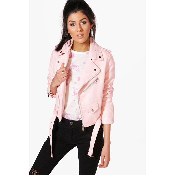 BOOHOO Maria Crop Leather Look Biker Jacket - Wrap up in the latest coats and jackets and get out-there...