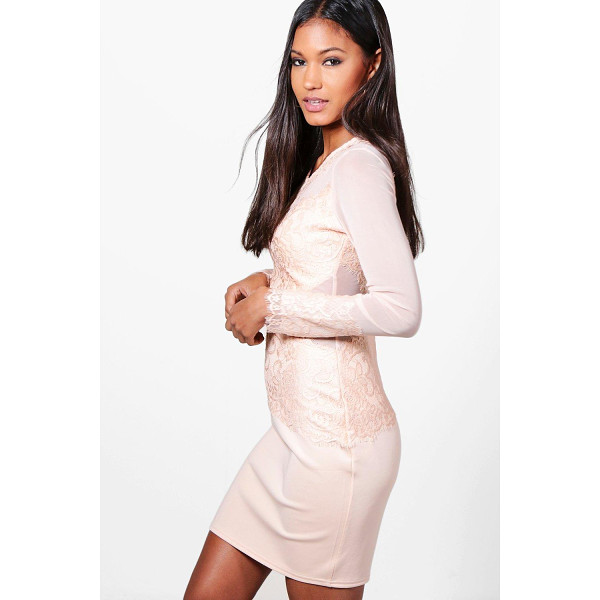 BOOHOO Mariane Mesh+Eyelash Lace Bodycon Dress - Dresses are the most-wanted wardrobe item for day-to-night