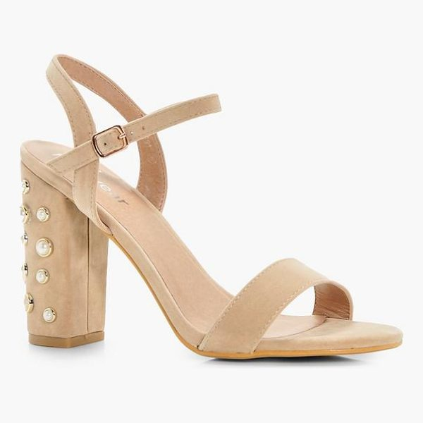 BOOHOO Martha Pearl Embellished Block Heels - We'll make sure your shoes keep you one stylish step ahead...