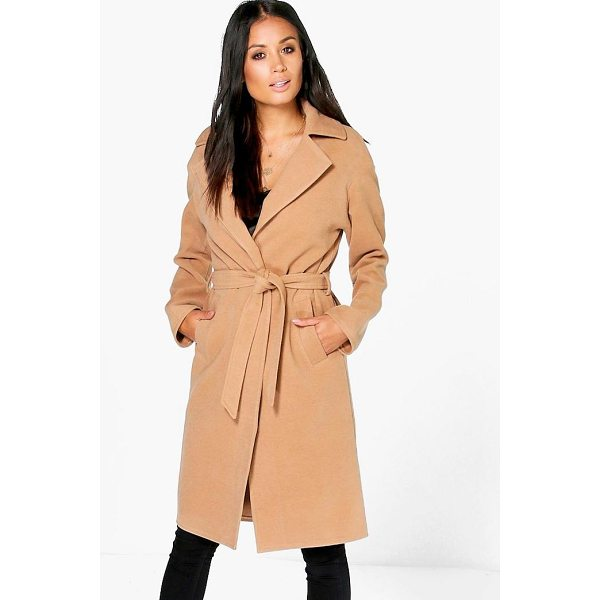 BOOHOO Matilda Belted Wool Look Robe Duster - Wrap up in the latest coats and jackets and get out-there...