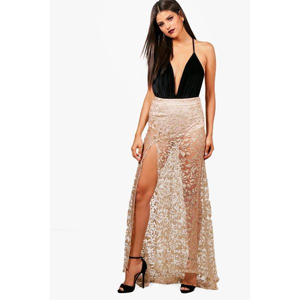BOOHOO Maya Glitter Mesh Baroque Fishtail Sheer Maxi Skirt - Skirts are the statement separate in every wardrobe This...
