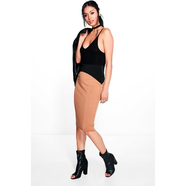BOOHOO Maya High Waist Panelled Scuba Midi Skirt - Skirts are the statement separate in every wardrobe This...