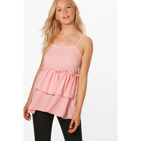 BOOHOO Maya Lace Double Frill Cami - Steal the style top spot in a statement separate from the...