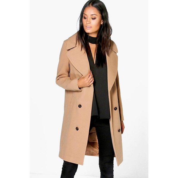BOOHOO Maya Oversized Collar Double Breasted Coat - Wrap up in the latest coats and jackets and get out-there...