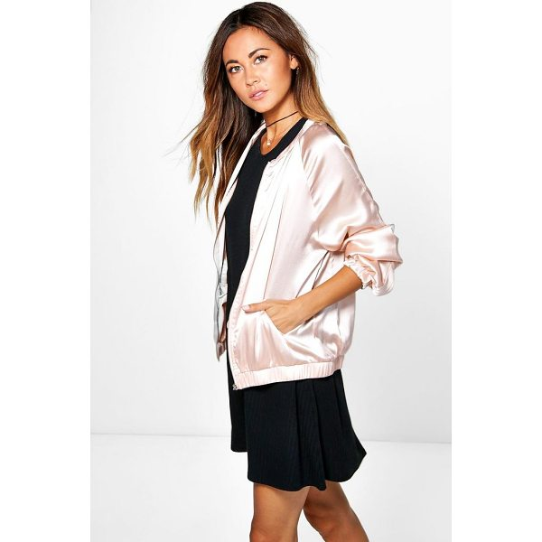 BOOHOO Maya Satin Bomber Jacket - Wrap up in the latest coats and jackets and get out-there...