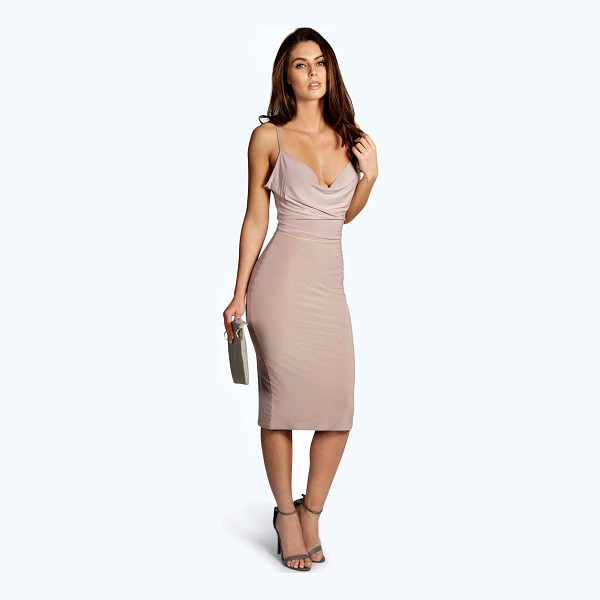 BOOHOO Meg Slinky Strappy Cowl Front Bodycon Dress - Get dance floor-ready in an entrance-making evening dress....
