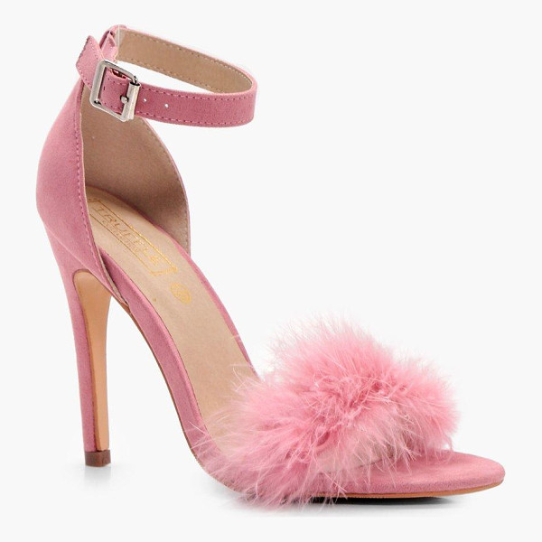 BOOHOO Megan Feathered Trim Two Part Heel - We'll make sure your shoes keep you one stylish step ahead...