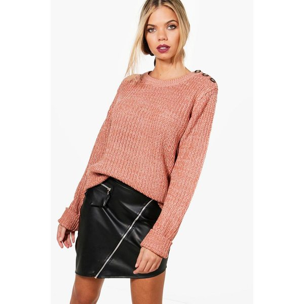 BOOHOO Megan Marl Knitted Button Detail Fisherman Jumper - Nail new season knitwear in the jumpers and cardigans that...
