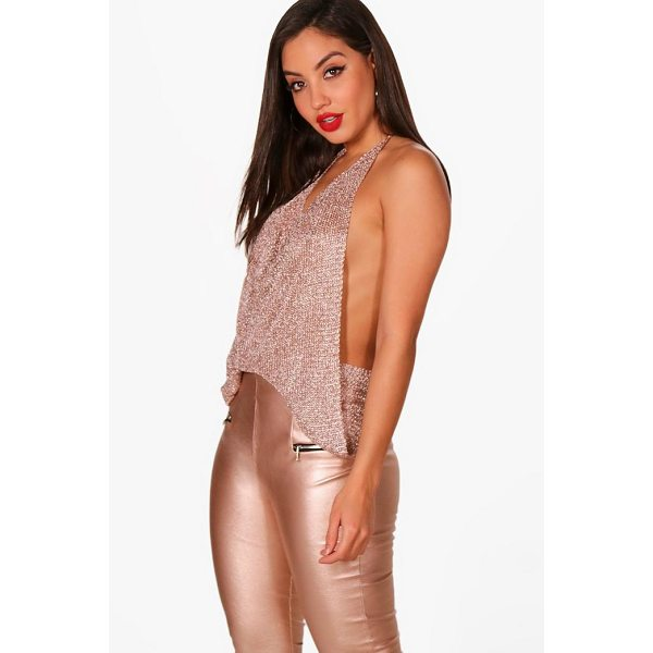 BOOHOO Megan Metallic Knit Halterneck Top - Nail new season knitwear in the jumpers and cardigans that...