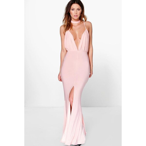 BOOHOO Megan Neck Band Detail Plunge Maxi Dress - Dresses are the most-wanted wardrobe item for day-to-night...