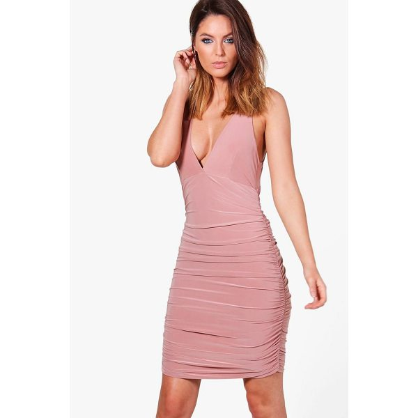 BOOHOO Megan Slinky Ruched Bodycon Dress - Dresses are the most-wanted wardrobe item for day-to-night...