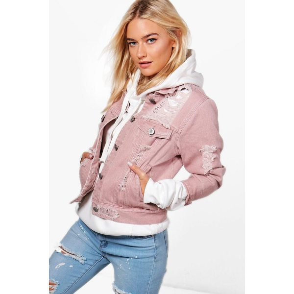 BOOHOO Melanie Distressed Twill Jacket - Wrap up in the latest coats and jackets and get out-there...