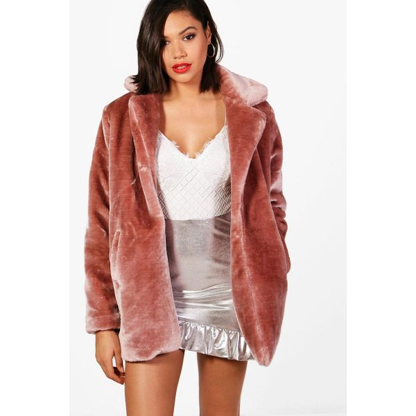 BOOHOO Melissa Collared Faux Fur Coat - Wrap up in the latest coats and jackets and get out-there...