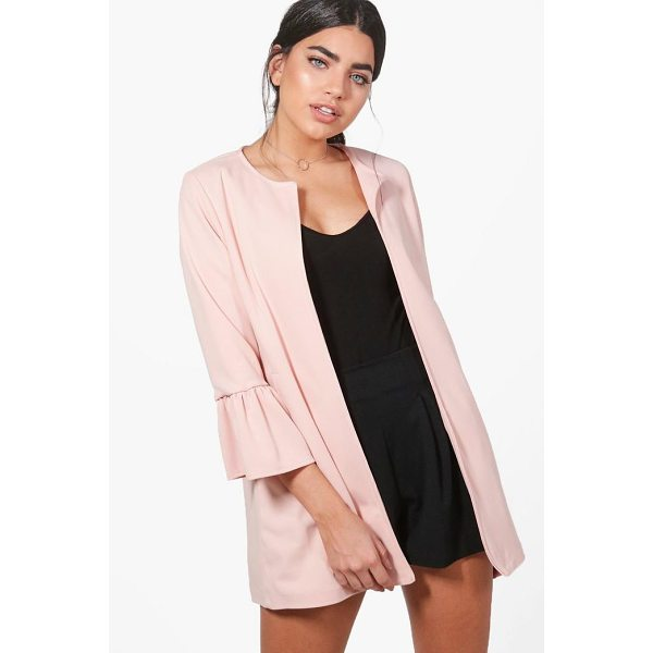 BOOHOO Melissa Collarless Ruffle Sleeve Blazer - Wrap up in the latest coats and jackets and get out-there...
