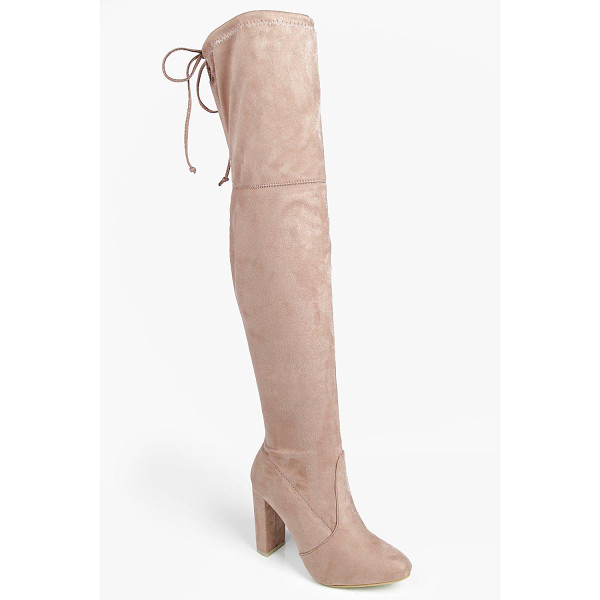 BOOHOO Mia Block Heel Lace Up Back Over Knee Boot - Boots are a basic in every shoe collectionAnkle boots are
