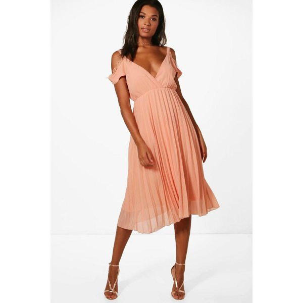 BOOHOO Mia Chiffon Lace Trim Cold Shoulder Pleated Skater - Dresses are the most-wanted wardrobe item for day-to-night...