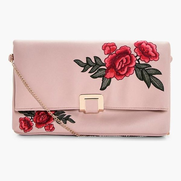BOOHOO Mia Floral Embroidered Oversized Clutch Bag - Add attitude with accessories for those fashion-forward...