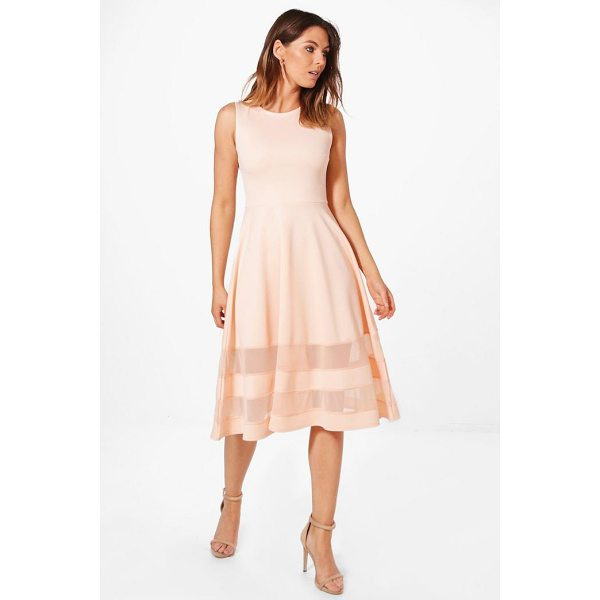 BOOHOO Mia Mesh Insert Hem  Midi Skater Dress - Dresses are the most-wanted wardrobe item for day-to-night...