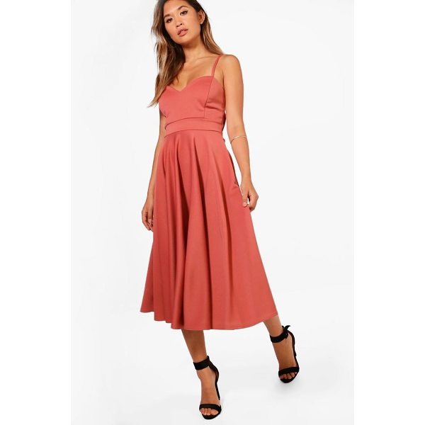 BOOHOO Michelle Scuba Tie Waist  Midi Skater Dress - Dresses are the most-wanted wardrobe item for day-to-night...