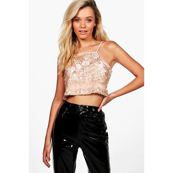 BOOHOO Mila Embroidered Boutique Halter Crop - Steal the show on your next evening out with our dreamy...