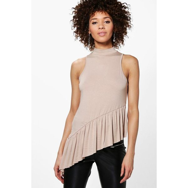 BOOHOO Mila Ruffle Hem Asymmetric Vest - Steal the style top spot in a statement separate from the...
