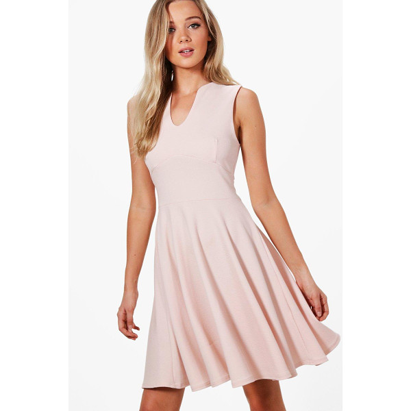 BOOHOO Millie Fitted Skater Sleeveless Midi Dress - Dresses are the most-wanted wardrobe item for day-to-night...