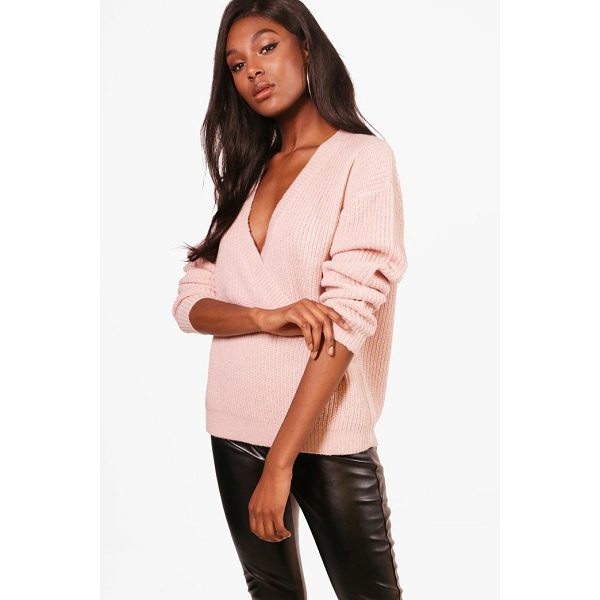 BOOHOO Millie Plunge Wrap Over Soft Knit Jumper - Nail new season knitwear in the jumpers and cardigans that...