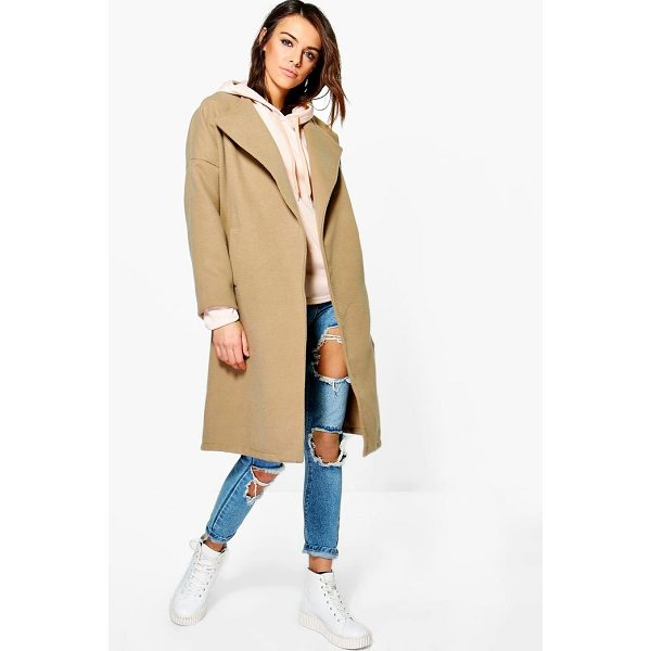 BOOHOO Milly Collarless Wool Look Coat - Wrap up in the latest coats and jackets and get out-there...