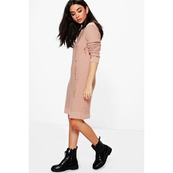 BOOHOO Milly Distressed Jumper Dress - Nail new season knitwear in the jumpers and cardigans that...