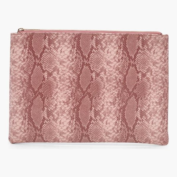 BOOHOO Mol Faux Snake Clutch Bag - Add attitude with accessories for those fashion-forward...