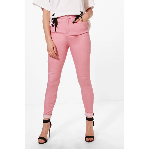 BOOHOO Molly 5 Pocket Pink Denim Skinny Jeans - Jeans are the genius wear-with-anything wardrobe...