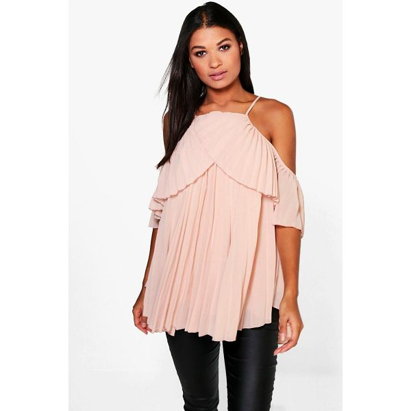 BOOHOO Molly Cold Shoulder Pleated Ruffle Top - Steal the style top spot in a statement separate from the...