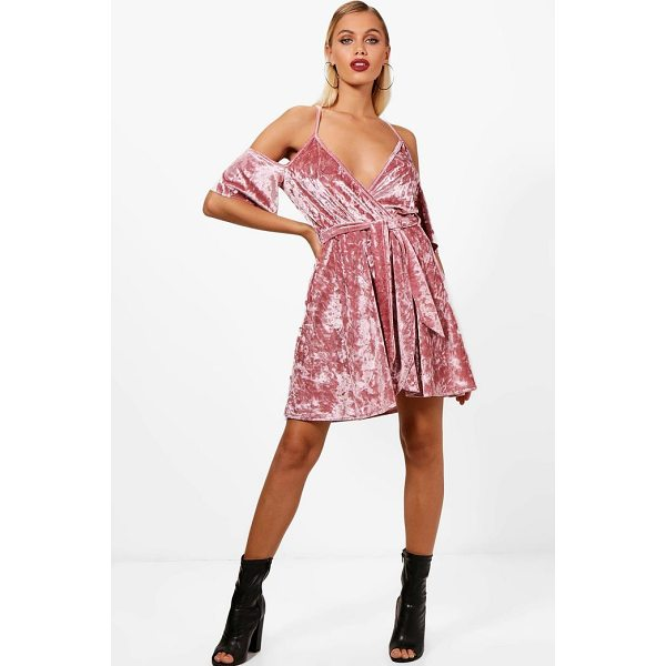 BOOHOO Molly Cold Shoulder Velvet Skater Dress - Dresses are the most-wanted wardrobe item for day-to-night...
