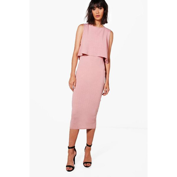 BOOHOO Molly Crinkle Double Layer Dress - Dresses are the most-wanted wardrobe item for day-to-night...