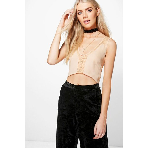 BOOHOO Molly Lace Insert Woven Bralet - Steal the style top spot in a statement separate from the...