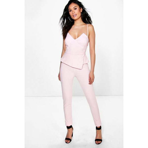 BOOHOO Molly Peplum Style Skinny Leg Jumpsuit - Jump start your new season wardrobe with the always chic...